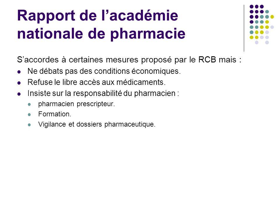 Rapport de lacadémie nationale de pharmacie Saccordes à certaines mesures proposé par le RCB mais : Ne débats pas des conditions économiques. Refuse l