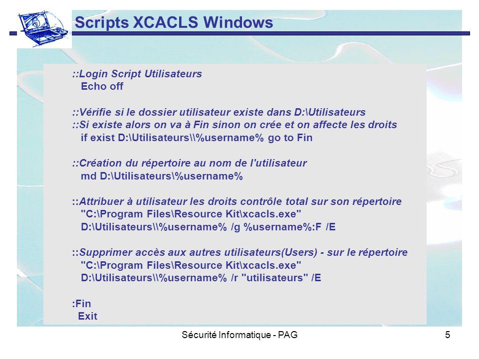Sécurité Informatique - PAG5 ::Login Script Utilisateurs Echo off ::Vérifie si le dossier utilisateur existe dans D:\Utilisateurs ::Si existe alors on
