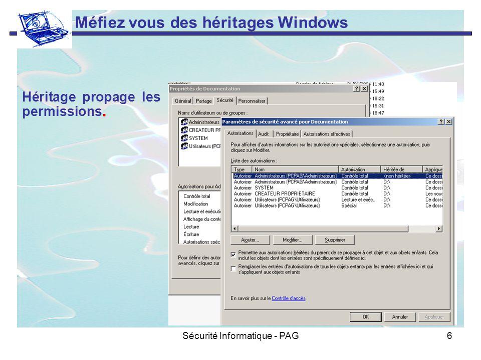 Sécurité Informatique - PAG6 Méfiez vous des héritages Windows Héritage propage les permissions.