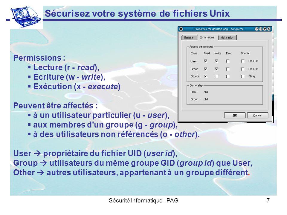 Sécurité Informatique - PAG7 Sécurisez votre système de fichiers Unix Permissions : Lecture (r - read), Ecriture (w - write), Exécution (x - execute)