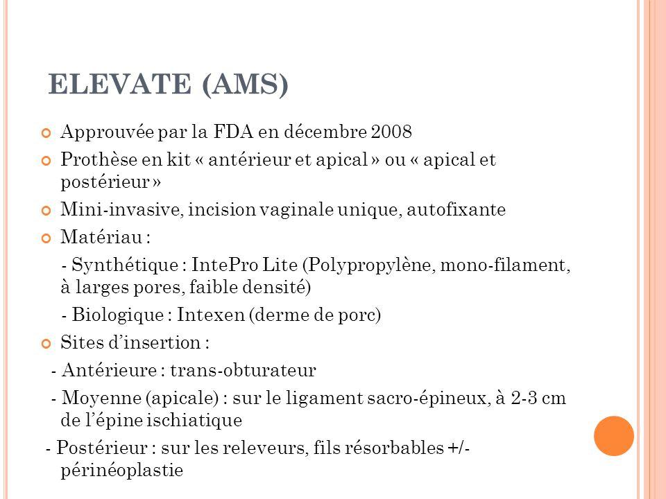 ELEVATE (AMS) Approuvée par la FDA en décembre 2008 Prothèse en kit « antérieur et apical » ou « apical et postérieur » Mini-invasive, incision vaginale unique, autofixante Matériau : - Synthétique : IntePro Lite (Polypropylène, mono-filament, à larges pores, faible densité) - Biologique : Intexen (derme de porc) Sites dinsertion : - Antérieure : trans-obturateur - Moyenne (apicale) : sur le ligament sacro-épineux, à 2-3 cm de lépine ischiatique - Postérieur : sur les releveurs, fils résorbables +/- périnéoplastie