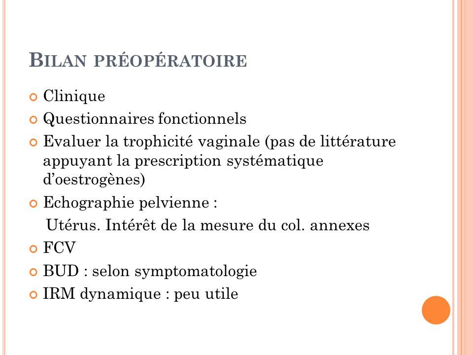 B ILAN PRÉOPÉRATOIRE Clinique Questionnaires fonctionnels Evaluer la trophicité vaginale (pas de littérature appuyant la prescription systématique doestrogènes) Echographie pelvienne : Utérus.
