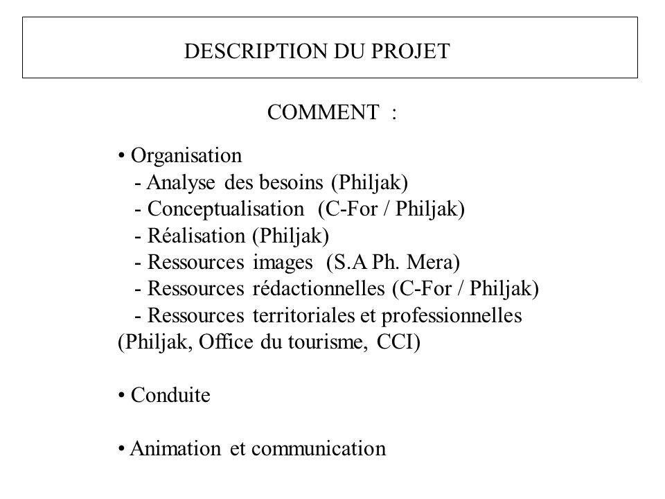 COMMENT : Organisation - Analyse des besoins (Philjak) - Conceptualisation (C-For / Philjak) - Réalisation (Philjak) - Ressources images (S.A Ph.