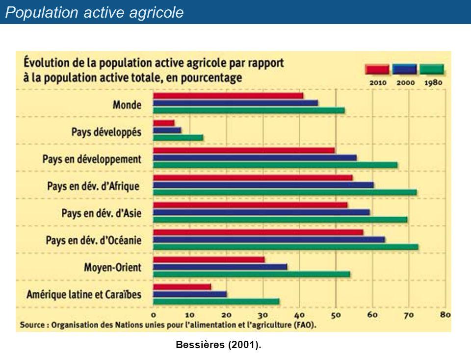 Population active agricole Bessières (2001).