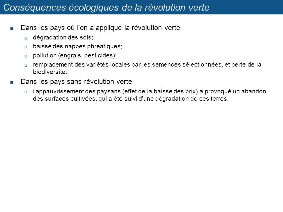 Conséquences écologiques de la révolution verte Dans les pays où lon a appliqué la révolution verte dégradation des sols; baisse des nappes phréatique