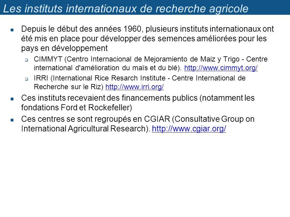 Les instituts internationaux de recherche agricole Depuis le début des années 1960, plusieurs instituts internationaux ont été mis en place pour développer des semences améliorées pour les pays en développement CIMMYT (Centro Internacional de Mejoramiento de Maiz y Trigo - Centre international d amélioration du maïs et du blé).
