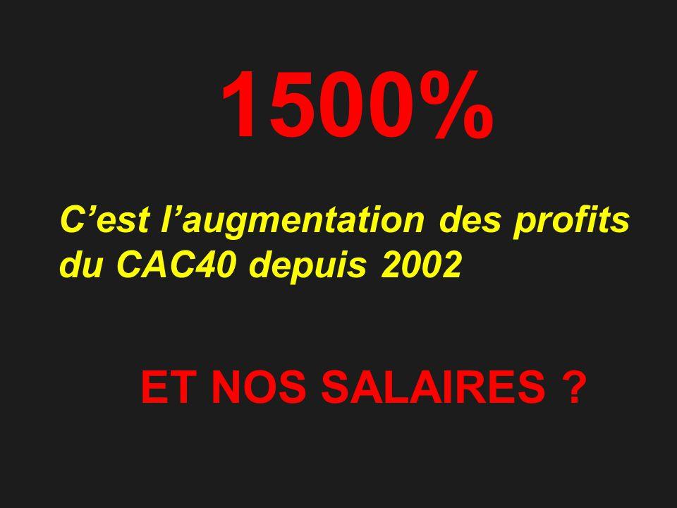 1500% Cest laugmentation des profits du CAC40 depuis 2002 ET NOS SALAIRES