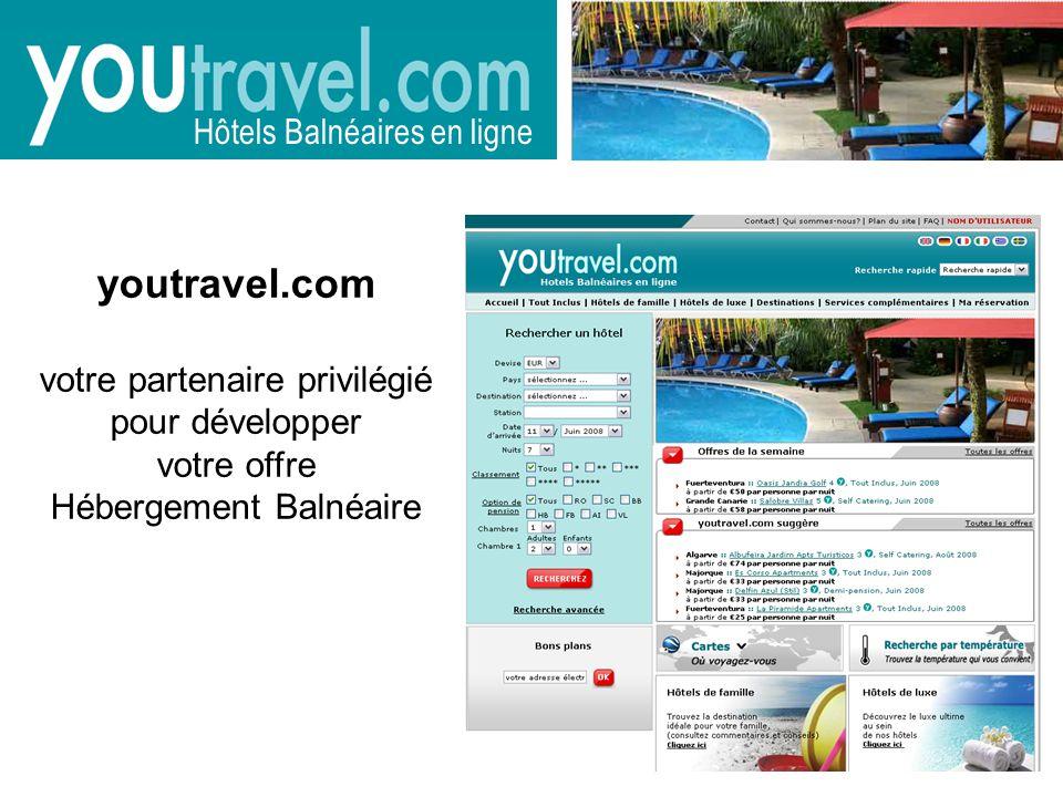 youtravel.com votre partenaire privilégié pour développer votre offre Hébergement Balnéaire Hôtels Balnéaires en ligne