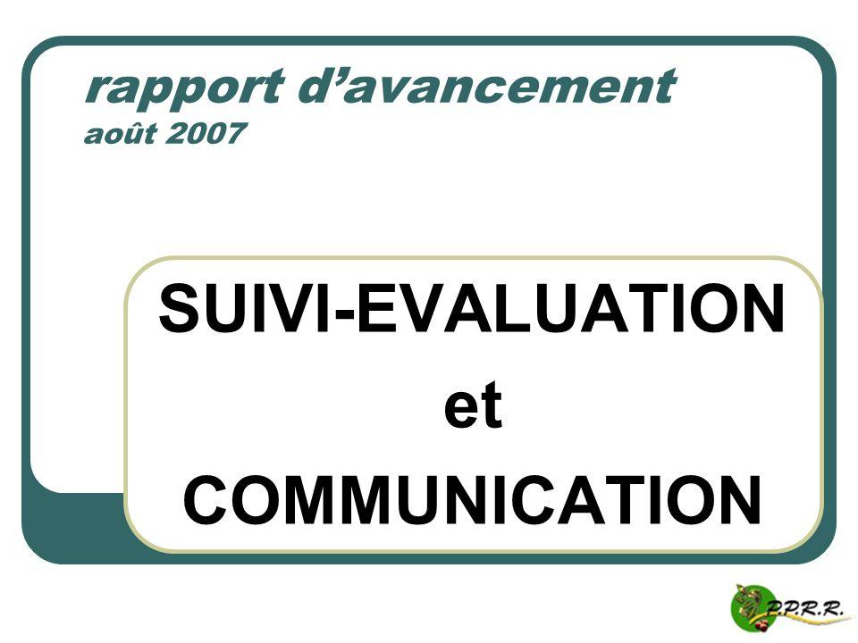 SUIVI-EVALUATION et COMMUNICATION rapport davancement août 2007