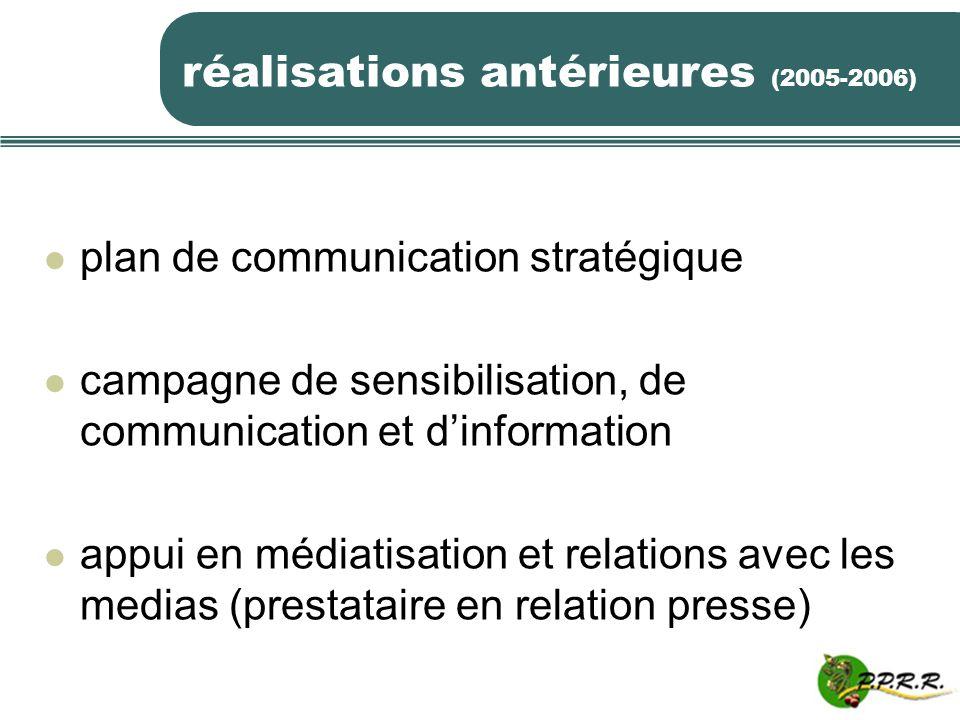 réalisations antérieures (2005-2006) plan de communication stratégique campagne de sensibilisation, de communication et dinformation appui en médiatis