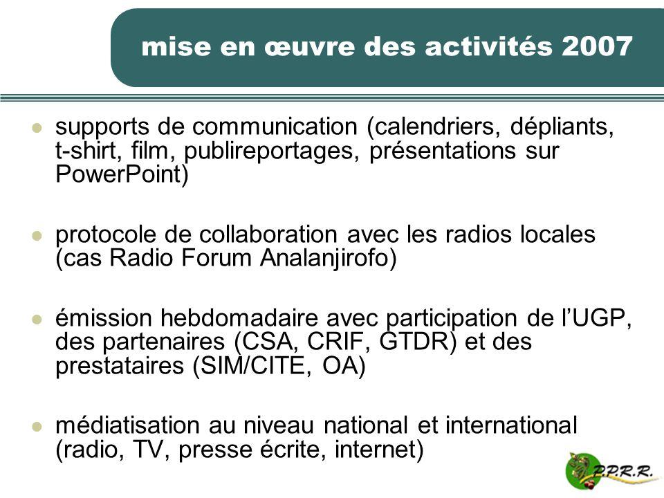 mise en œuvre des activités 2007 supports de communication (calendriers, dépliants, t-shirt, film, publireportages, présentations sur PowerPoint) prot