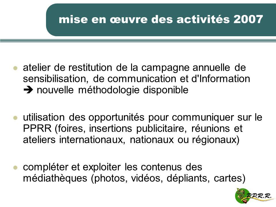 mise en œuvre des activités 2007 atelier de restitution de la campagne annuelle de sensibilisation, de communication et d'Information nouvelle méthodo