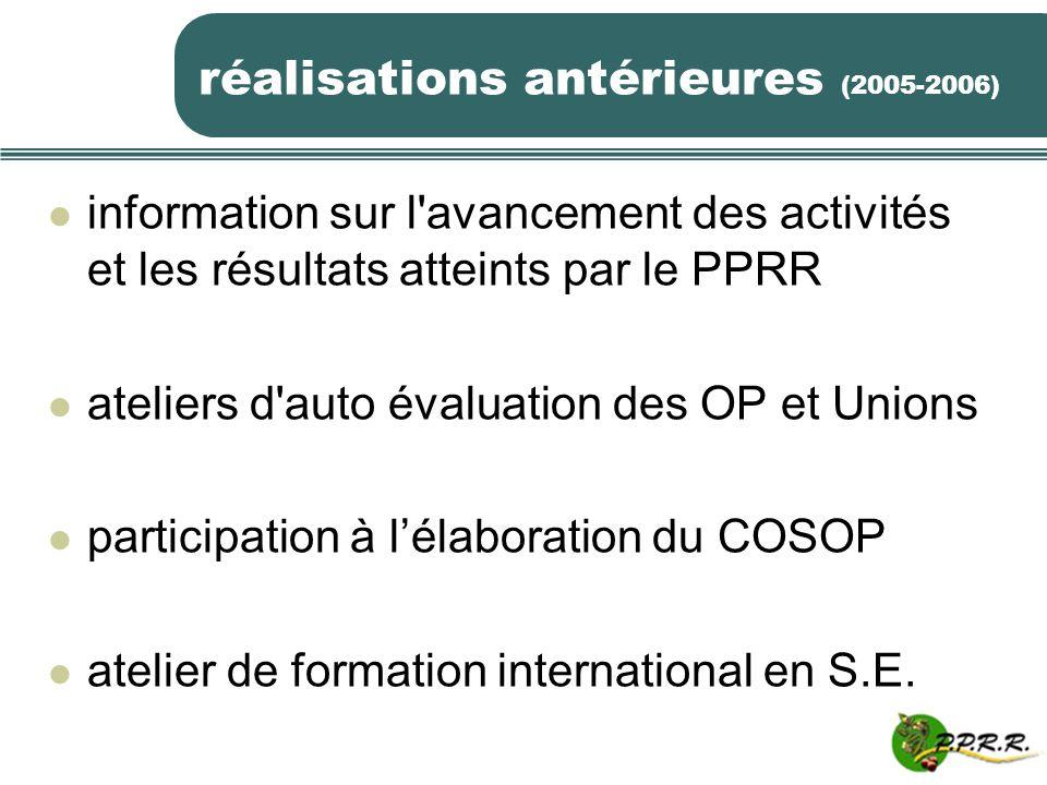 réalisations antérieures (2005-2006) information sur l'avancement des activités et les résultats atteints par le PPRR ateliers d'auto évaluation des O