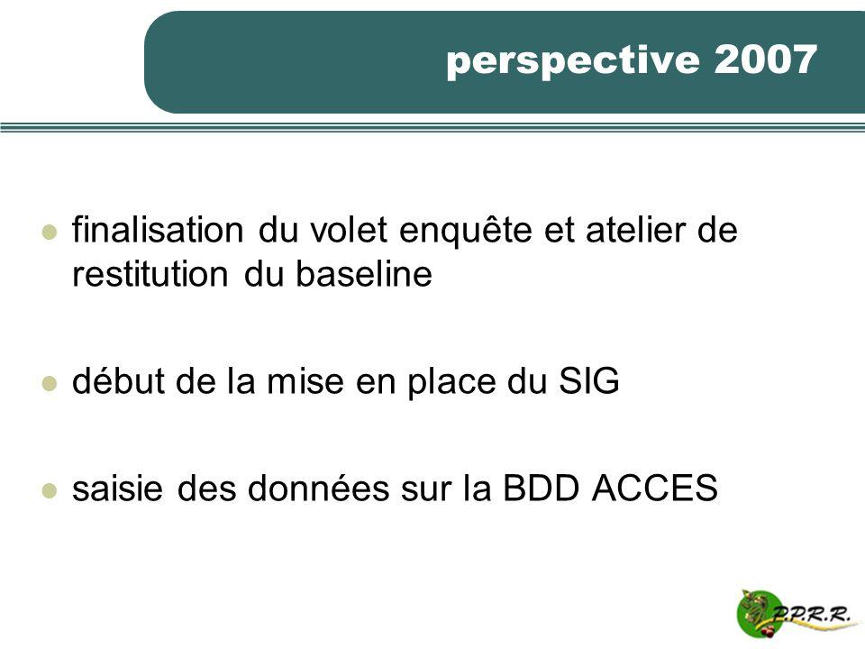 perspective 2007 finalisation du volet enquête et atelier de restitution du baseline début de la mise en place du SIG saisie des données sur la BDD AC