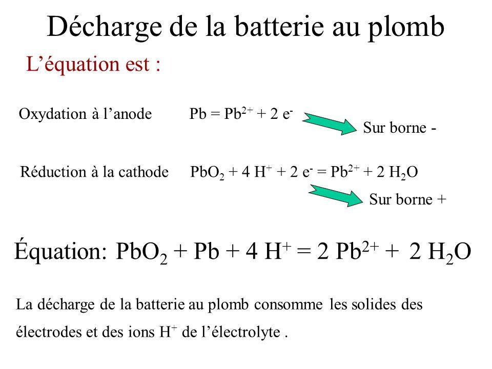 Oxydation à lanode Pb = Pb 2+ + 2 e - Léquation est : Équation: PbO 2 + Pb + 4 H + = 2 Pb 2+ + 2 H 2 O Décharge de la batterie au plomb Réduction à la