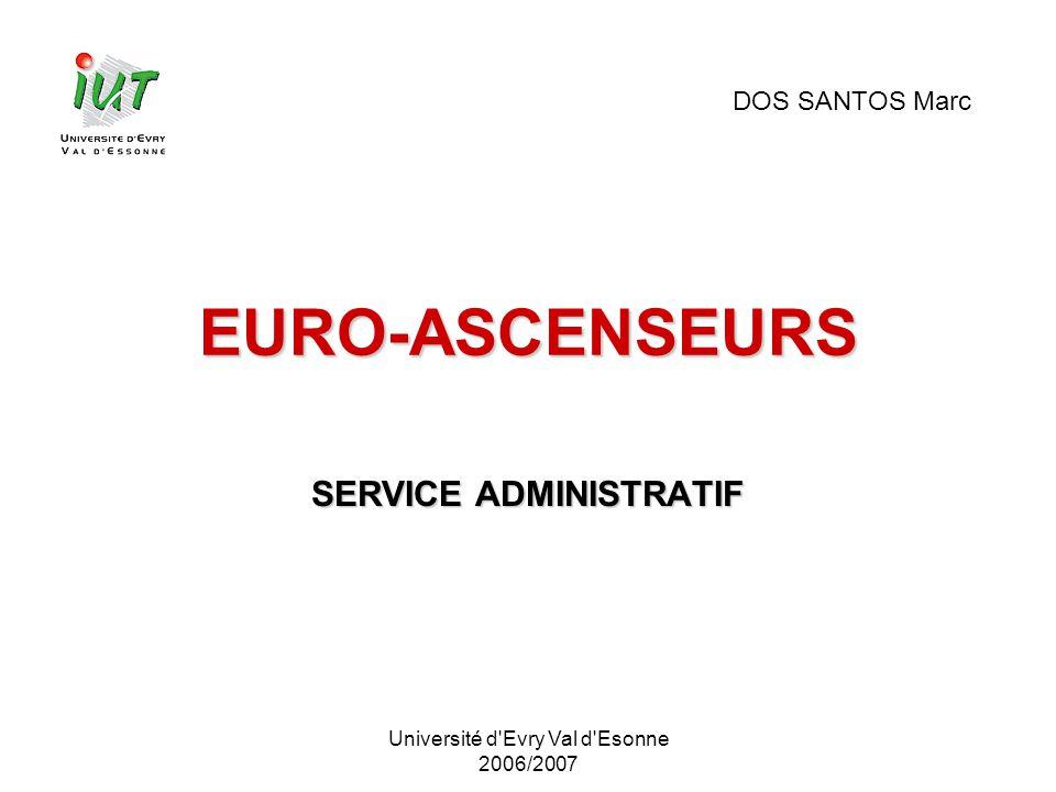 Université d'Evry Val d'Esonne 2006/2007 EURO-ASCENSEURS SERVICE ADMINISTRATIF DOS SANTOS Marc