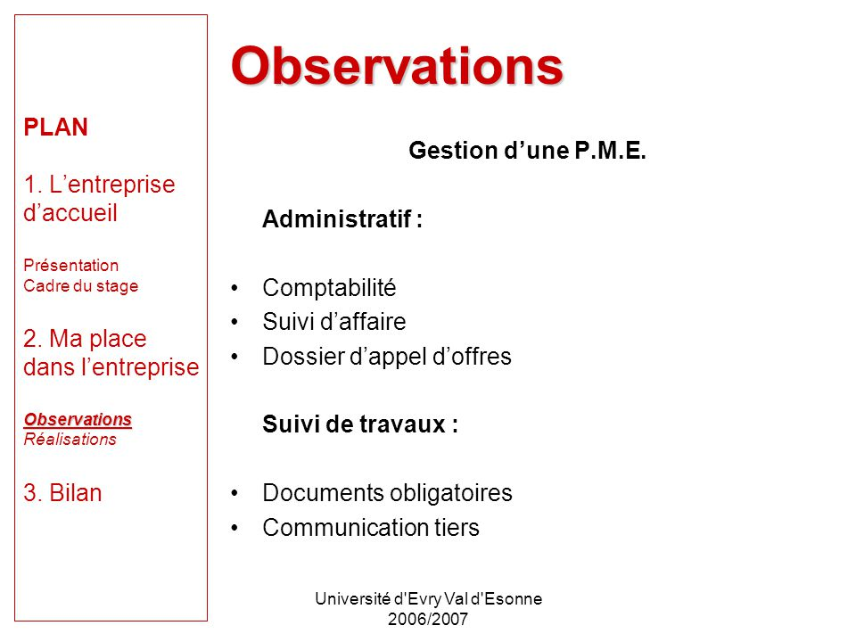 Université d Evry Val d Esonne 2006/2007 Observations PLAN 1.