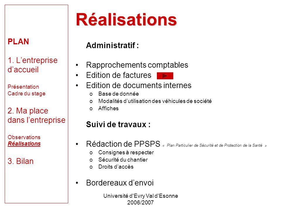 Université d'Evry Val d'Esonne 2006/2007 Réalisations PLAN 1. Lentreprise daccueil Présentation Cadre du stage 2. Ma place dans lentreprise Observatio