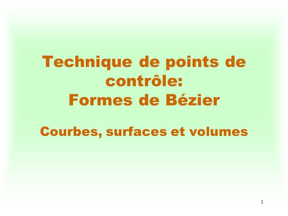 2 Définition dune courbe de Bézier Soient P i (x i, y i, z i ), i = 0, 1, 2,..., N, lensemble des points de contrôle, C(u) = i=0,1,2,..., N f i,N (u) P i u [0,1] C représente une courbe de Bézier de degré N dans l espace à 3 dimensions comme étant une somme pondérée des points de contrôle fournis par lusager.