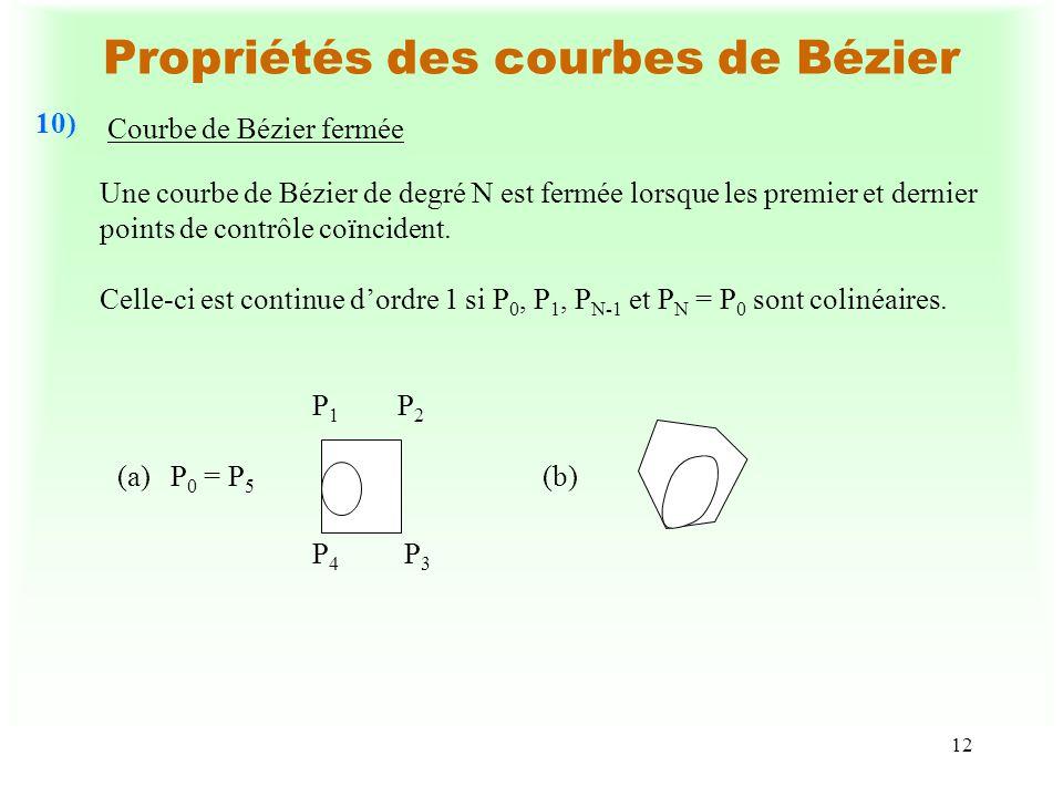 13 Propriétés des courbes de Bézier Calcul du vecteur tangent à une courbe de Bézier 11) du SoientC 0,N (u) :une courbe de Bézier de degré N avec comme points de contrôle P 0, P 1, P 2,...,P N, C 0,N-1 (u) : une courbe de Bézier de degré N-1 avec comme points de contrôle P 0, P 1, P 2,...,P N-1, C 1,N (u) :une courbe de Bézier de degré N-1 avec comme points de contrôle P 1, P 2,...,P N, alors d C 0,N (u) = N {C 1,N (u) - C 0,N-1 (u)},u [0,1].