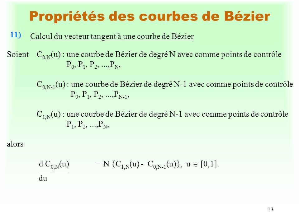 13 Propriétés des courbes de Bézier Calcul du vecteur tangent à une courbe de Bézier 11) du SoientC 0,N (u) :une courbe de Bézier de degré N avec comm