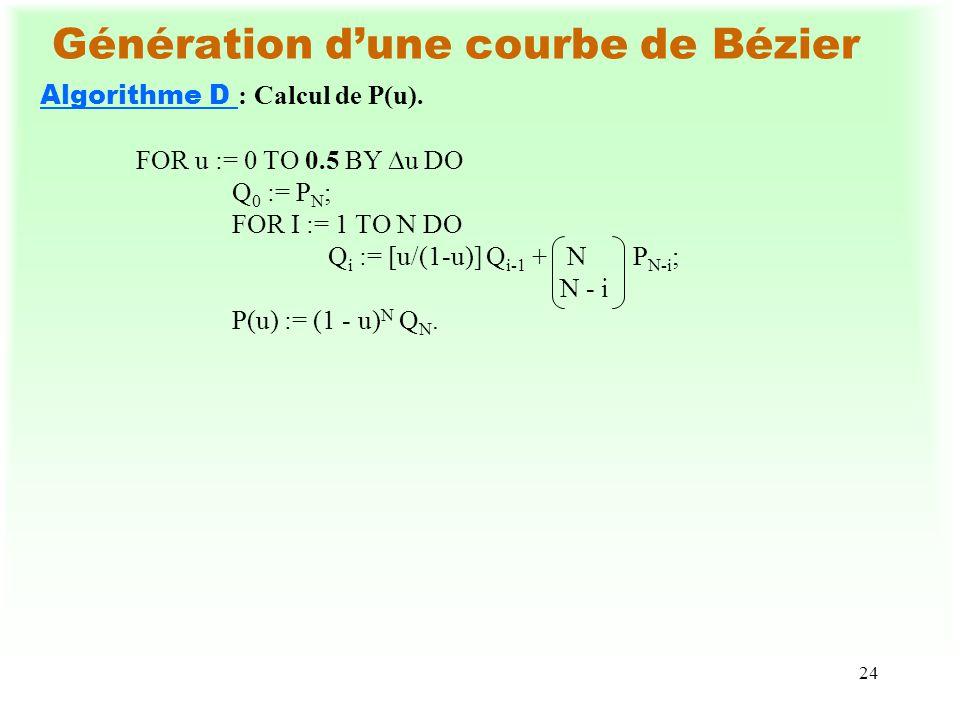 24 Génération dune courbe de Bézier Algorithme D : Calcul de P(u). FOR u := 0 TO 0.5 BY u DO Q 0 := P N ; FOR I := 1 TO N DO Q i := [u/(1-u)] Q i-1 +