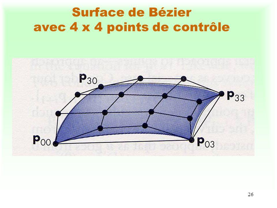 27 Quelques propriétés des surfaces de Bézier Les sommets frontières sont : S(0, 0) = P 0,0, S(0, 1) = P 0,n, S(1, 0) = P m,0 et S(1,1) = P m,n.