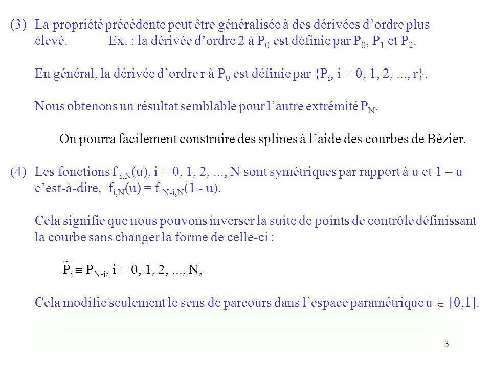 3 (3)La propriété précédente peut être généralisée à des dérivées dordre plus élevé.Ex. : la dérivée dordre 2 à P 0 est définie par P 0, P 1 et P 2. E