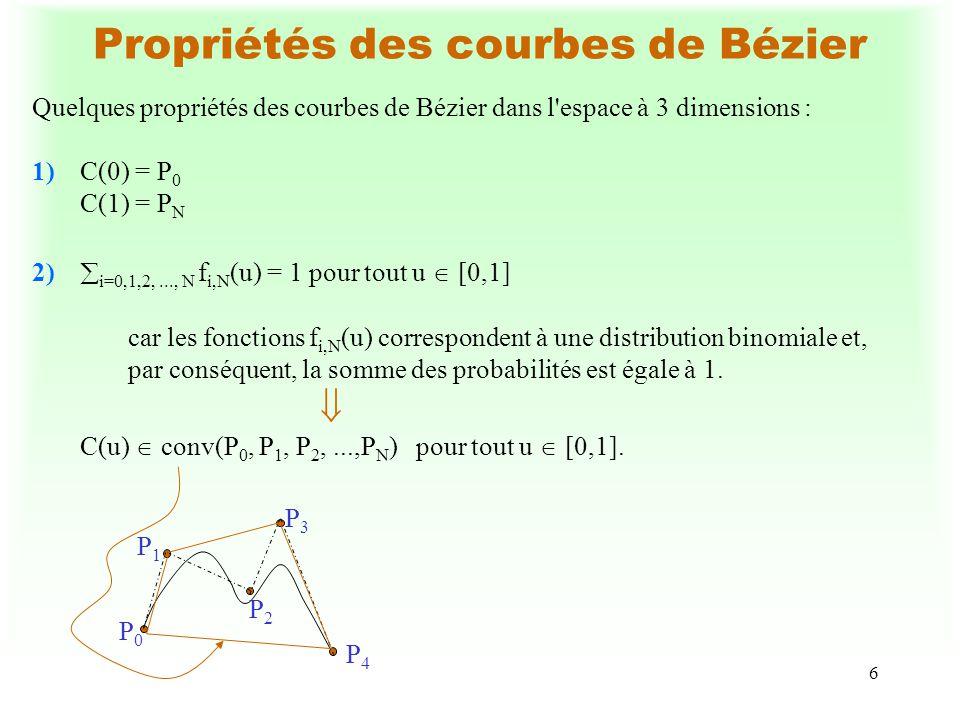 6 Propriétés des courbes de Bézier Quelques propriétés des courbes de Bézier dans l'espace à 3 dimensions : 1)C(0) = P 0 C(1) = P N 2) i=0,1,2,..., N