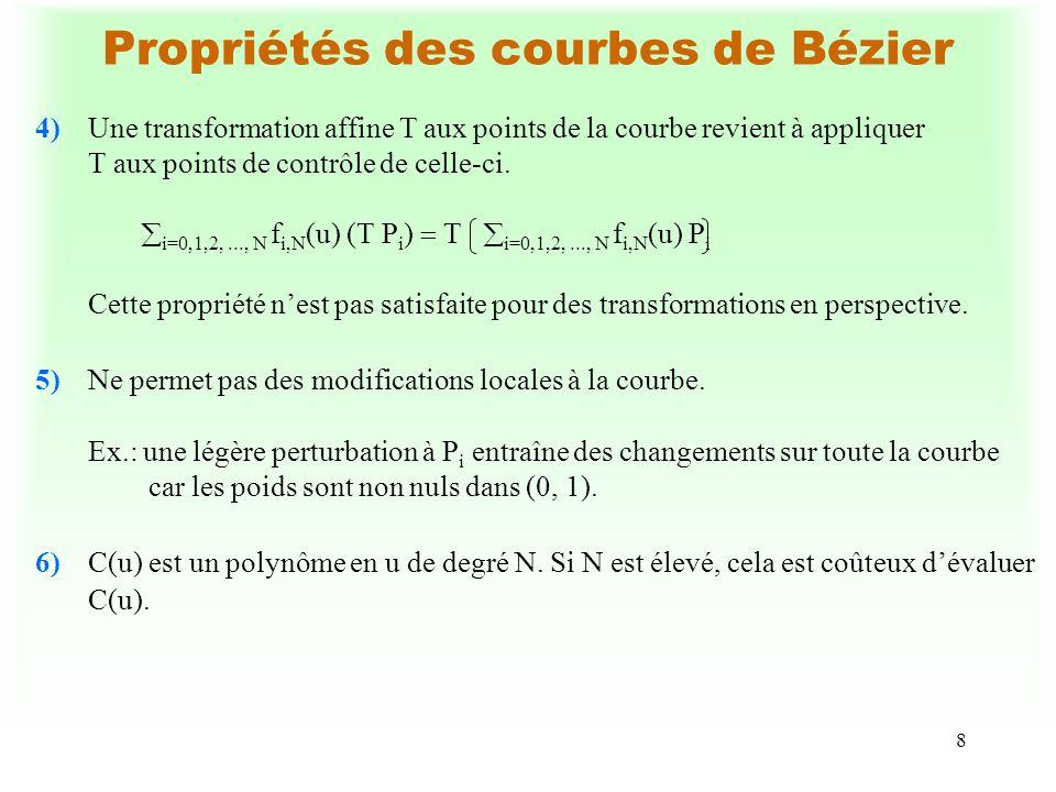 8 Propriétés des courbes de Bézier 4)Une transformation affine T aux points de la courbe revient à appliquer T aux points de contrôle de celle-ci. i=0