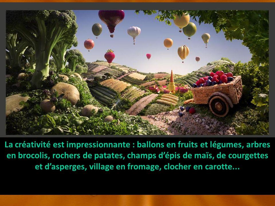 La créativité est impressionnante : ballons en fruits et légumes, arbres en brocolis, rochers de patates, champs dépis de maïs, de courgettes et dasperges, village en fromage, clocher en carotte...