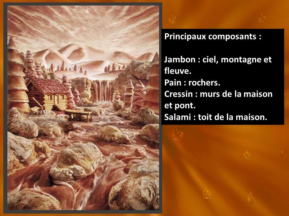 Principaux composants : Jambon : ciel, montagne et fleuve. Pain : rochers. Cressin : murs de la maison et pont. Salami : toit de la maison.