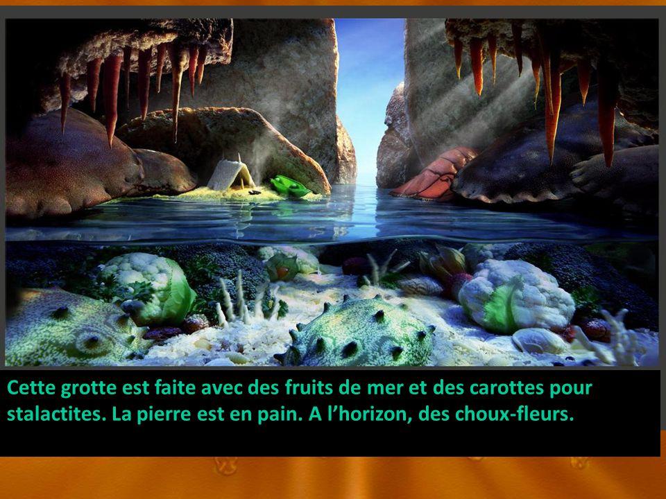 Cette grotte est faite avec des fruits de mer et des carottes pour stalactites. La pierre est en pain. A lhorizon, des choux-fleurs.