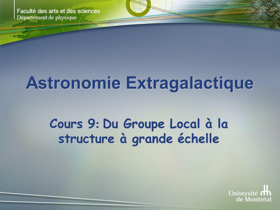 Faculté des arts et des sciences Département de physique Astronomie Extragalactique Cours 9 : Du Groupe Local à la structure à grande échelle