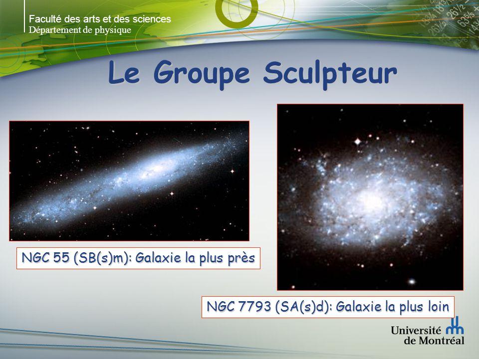 Faculté des arts et des sciences Département de physique Le Groupe Sculpteur NGC 55 (SB(s)m): Galaxie la plus près NGC 7793 (SA(s)d): Galaxie la plus loin