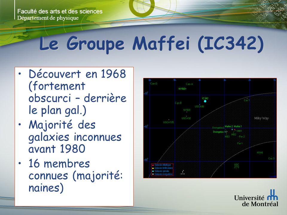 Faculté des arts et des sciences Département de physique Le Groupe Maffei (IC342) Découvert en 1968 (fortement obscurci – derrière le plan gal.) Majorité des galaxies inconnues avant 1980 16 membres connues (majorité: naines)