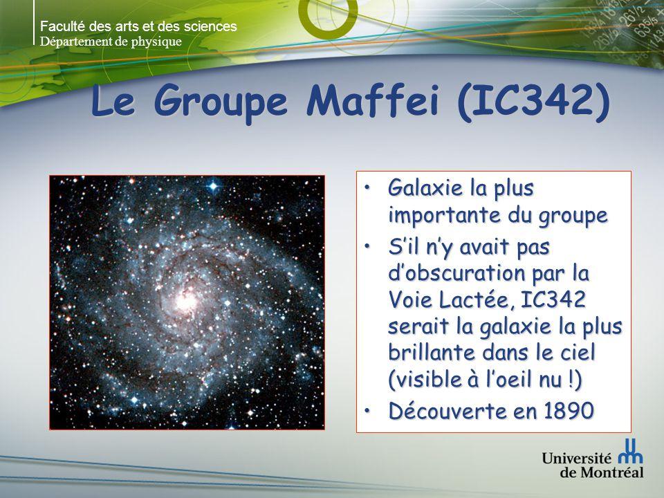 Faculté des arts et des sciences Département de physique Le Groupe Maffei (IC342) Galaxie la plus importante du groupeGalaxie la plus importante du groupe Sil ny avait pas dobscuration par la Voie Lactée, IC342 serait la galaxie la plus brillante dans le ciel (visible à loeil nu !)Sil ny avait pas dobscuration par la Voie Lactée, IC342 serait la galaxie la plus brillante dans le ciel (visible à loeil nu !) Découverte en 1890Découverte en 1890