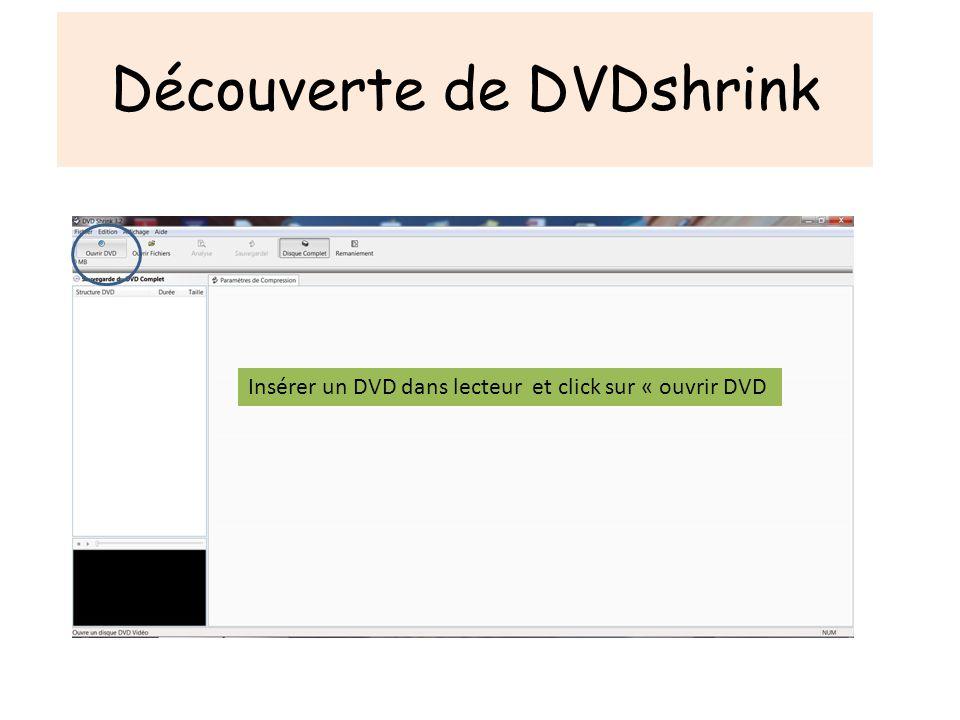 Découverte de DVDshrink Insérer un DVD dans lecteur et click sur « ouvrir DVD