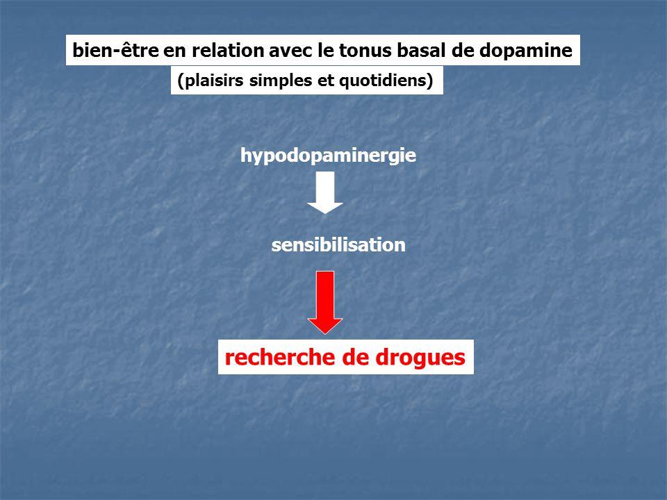 sensibilisation recherche de drogues bien-être en relation avec le tonus basal de dopamine (plaisirs simples et quotidiens) hypodopaminergie