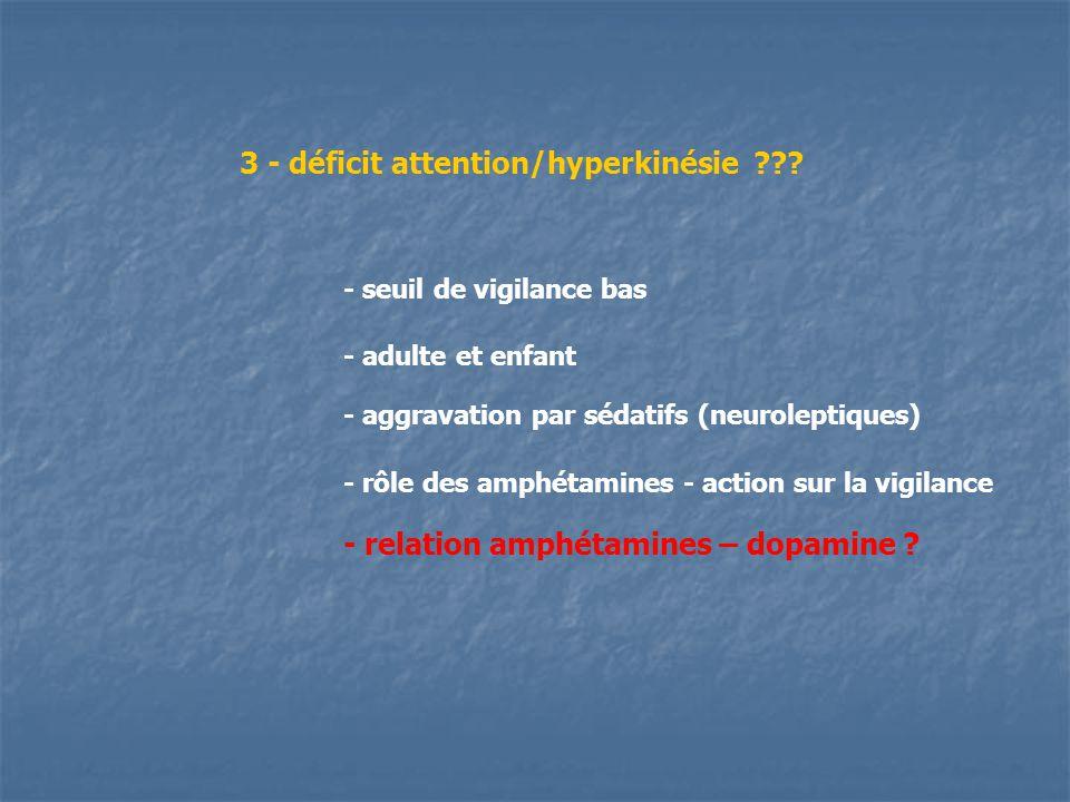 3 - déficit attention/hyperkinésie ??? - adulte et enfant - aggravation par sédatifs (neuroleptiques) - rôle des amphétamines - action sur la vigilanc