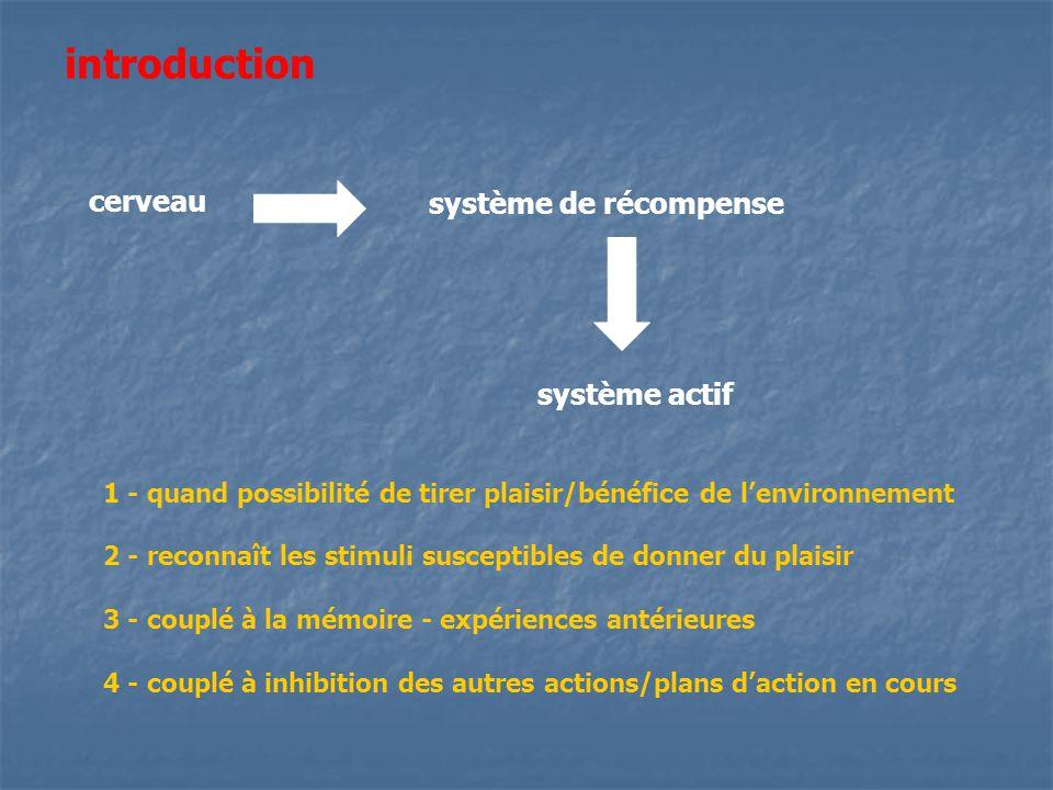 introduction système de récompense cerveau système actif 1 - quand possibilité de tirer plaisir/bénéfice de lenvironnement 2 - reconnaît les stimuli s