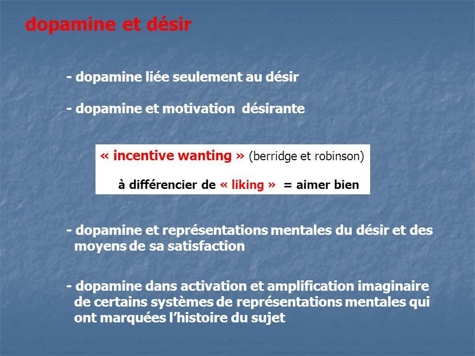 dopamine et désir - dopamine liée seulement au désir - dopamine et motivation désirante « incentive wanting » (berridge et robinson) à différencier de