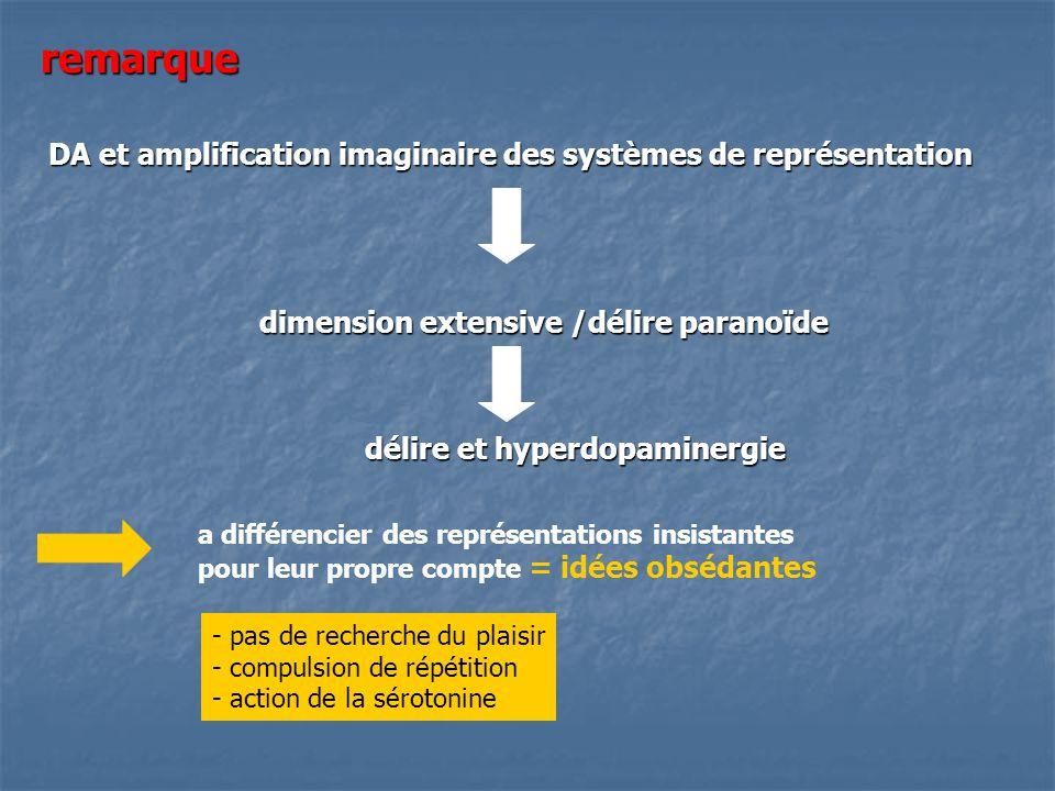 remarque DA et amplification imaginaire des systèmes de représentation dimension extensive /délire paranoïde délire et hyperdopaminergie a différencie