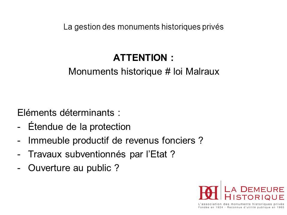 La gestion des monuments historiques privés ATTENTION : Monuments historique # loi Malraux Eléments déterminants : -Étendue de la protection -Immeuble