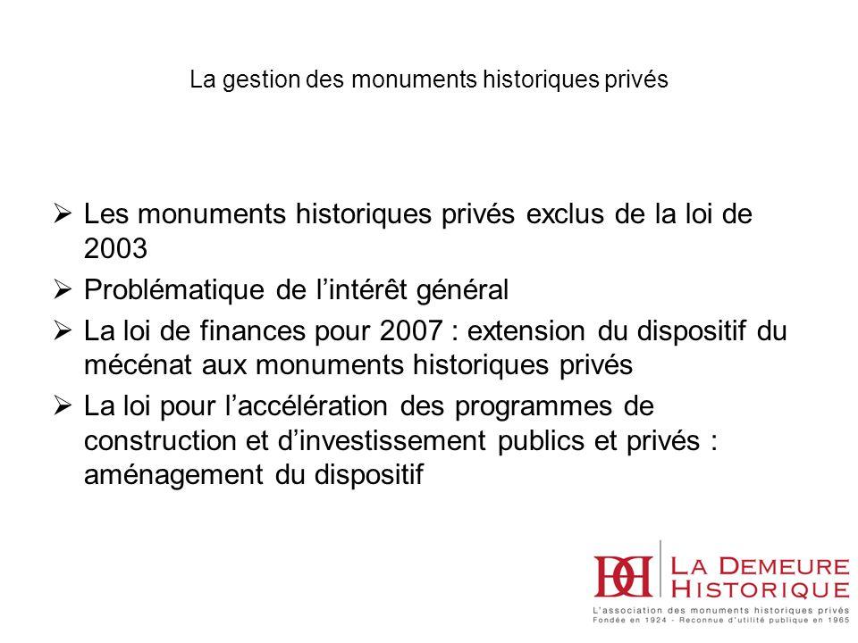 Les monuments historiques privés exclus de la loi de 2003 Problématique de lintérêt général La loi de finances pour 2007 : extension du dispositif du