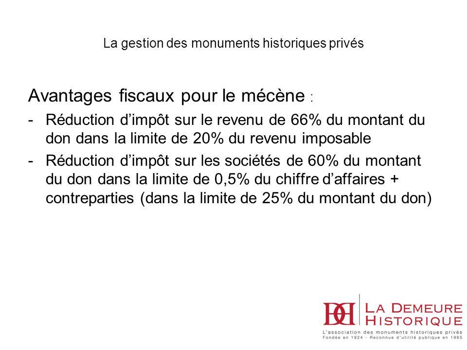 Avantages fiscaux pour le mécène : -Réduction dimpôt sur le revenu de 66% du montant du don dans la limite de 20% du revenu imposable -Réduction dimpô