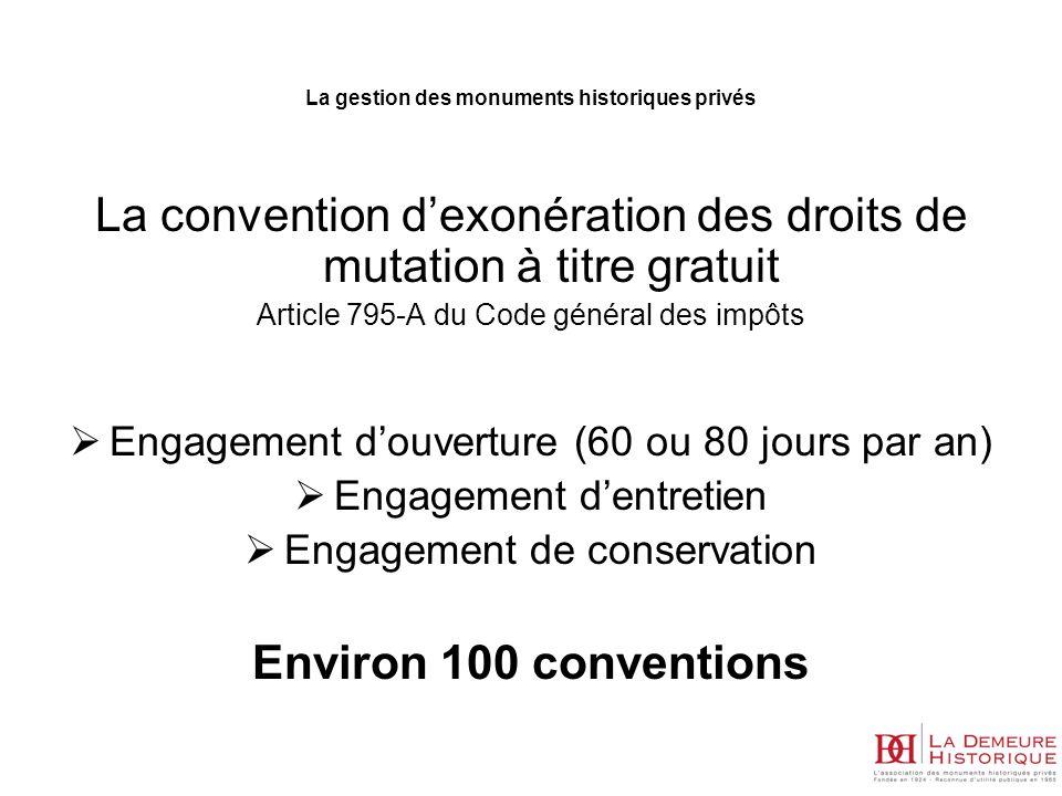 La convention dexonération des droits de mutation à titre gratuit Article 795-A du Code général des impôts Engagement douverture (60 ou 80 jours par a