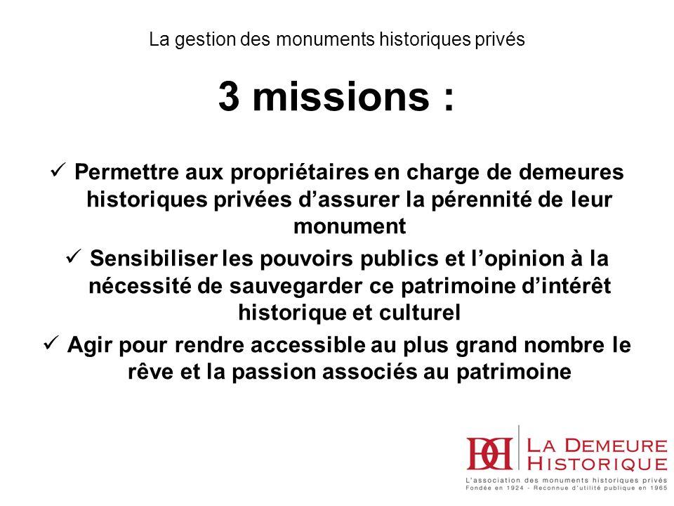 3 missions : Permettre aux propriétaires en charge de demeures historiques privées dassurer la pérennité de leur monument Sensibiliser les pouvoirs pu