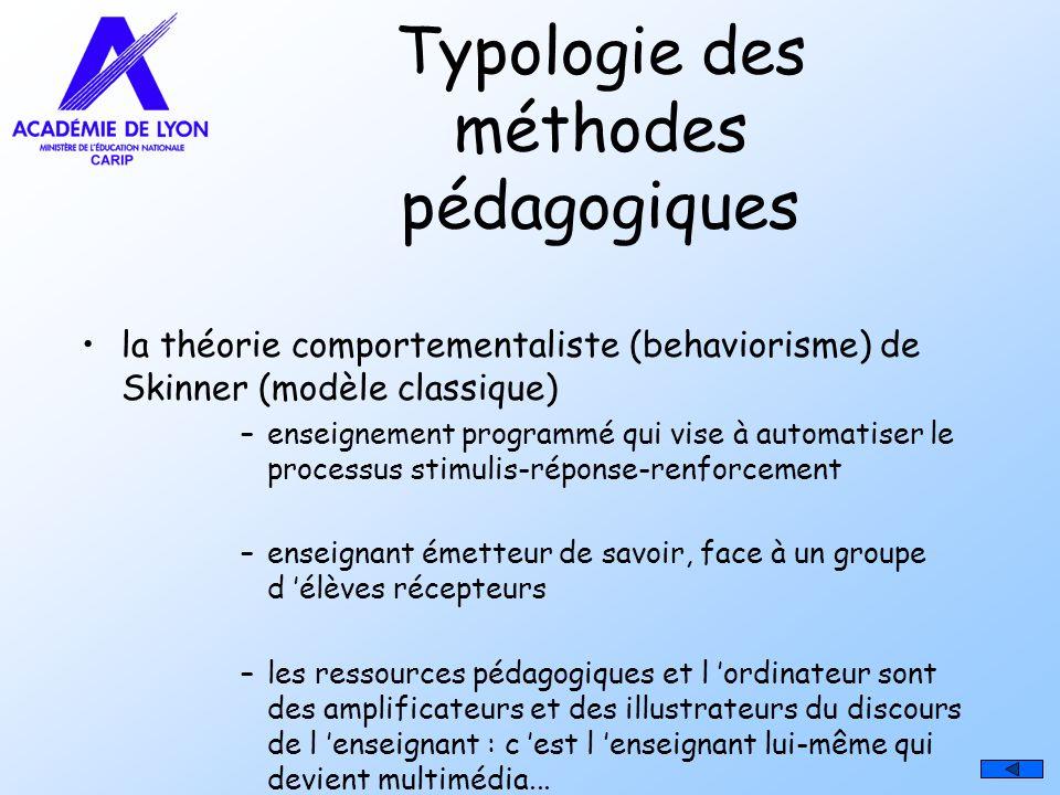 Typologie des méthodes pédagogiques la théorie comportementaliste (behaviorisme) de Skinner (modèle classique) –enseignement programmé qui vise à auto