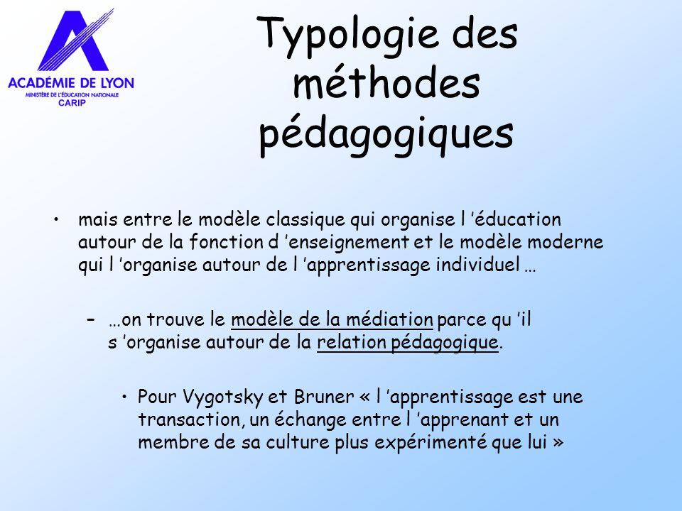 Typologie des méthodes pédagogiques mais entre le modèle classique qui organise l éducation autour de la fonction d enseignement et le modèle moderne